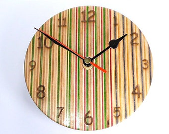 Skateboard Clock (6 Inch), Wooden Clock, Wall Hanging Clock, Skateboard Art, Reclaimed Wood, Skateboarder Gift, Recycled Skateboard