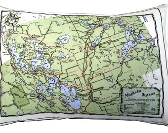 Muskoka Lakes District Vintage Map Pillow - FREE SHIPPING