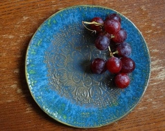blue salad plate, serving decorative plate, handmade ceramic from poland, stamped pattern, ornament plate, decorative platter, one of kind
