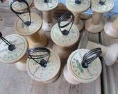 ONE Table Number Holder Vintage Wooden Spool Empty Thread Spool Cafe Number Holder