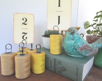 ONE Table Number Holder Yellow Vintage Wedding Cafe Number Holder Thread Spool