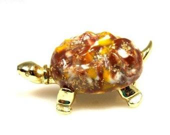 Vintage Molded Plastic Turtle Brooch