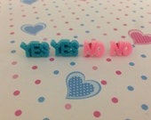 Yes or No Earring Decoden Cabochon Letter jewelry