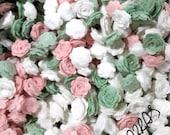 Wholesale  100 pcs - 1.0 Inch Die Cut Felt Roses, Mixed Colors OR Your choice of color - Felt Flowers , Felt Roses
