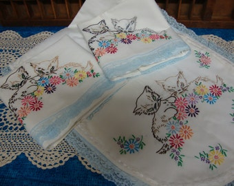 Hand Embroidered Kittens and Flowers Pillowcases and Matching Scarf