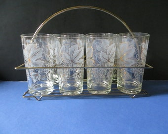 Continental Can Company Frosted Leaves Grapes Gold Trim 8 Glasses With Wire Carrier