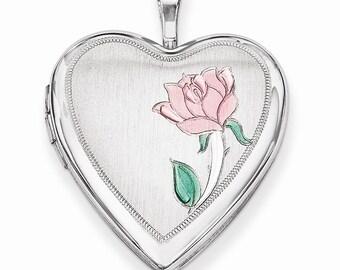 Sterling Silver 20mm Enameled Flower Heart Locket