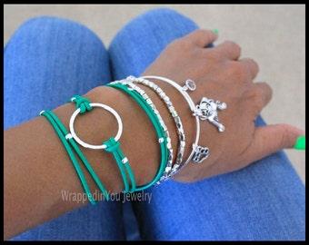 Boho LEATHER Wrap Bracelet - Silver Infinity Circle Triple Wrap Bracelet - Natural Leather Extension Chain - Pick COLOR / SIZe - Usa - 777