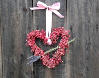 Pink Peppercorn Heart Wreath