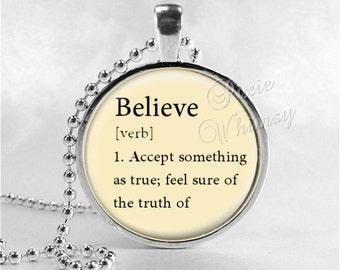 BELIEVE Necklace, Word Definition Necklace, Believe, Believe Pendant, Believe Jewelry, Glass Art Pendant Charm, Dictionary Word Definition