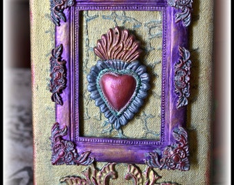 One of a Kind, Mixed Media, Handmade Canvas Block-Framed Sacred Heart