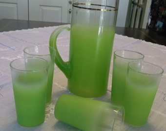 Blendo Lemonade Set Beverage Set West Virgina Glass Mid Century