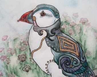 Puffin Original Fine Art Giclee Print- 'The Puffin's Porch'. Mounted watercolour, gold ink and marker print.