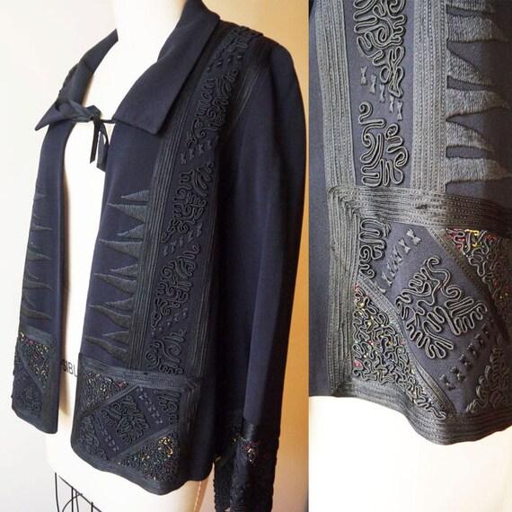 1920s soutache silk jacket // flapper jacket // vintage jacket