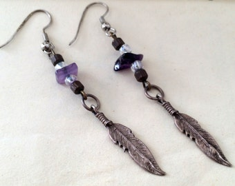 Sterling 925 silver feather vintage drop earrings