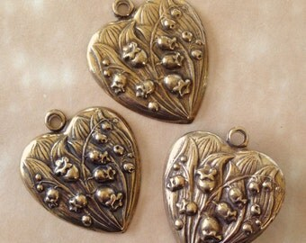 Vintage Heart Findings, Lilly of the Valley Findings, 1Pcs