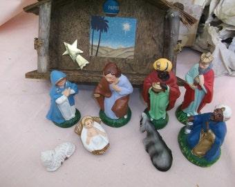 Papier Mache Nativity Japan Boxed Midcentury