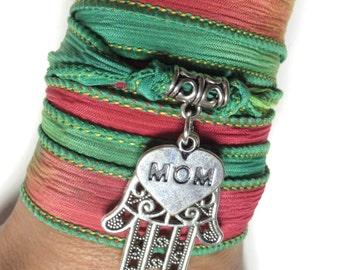 Mother's Day Silk Wrap Bracelet Hamsa Yoga Jewelry Bohemian Jewelry Boho Silk Ribbon Wrap Wrist Band Yoga Mom Unique Birthday Gift Under 30