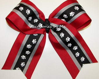 Bulk Price, Bulldogs Cheer Bow, Paw Print Red Black 7 Inch Bows, Georgia Dawgs Football Cheerleader Bows, Bull Dogs College Team Spirit Bows