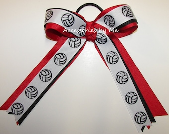 Volleyball Hair Bow, Red Black Ribbon Ties, Ponytail Streamer, Bulk Order Items, Custom Team Cheer Bows, Girls Uniform Accessories Mom Gift