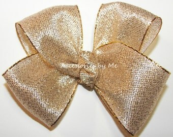 Gold Hair Bow, Lame Metallic Hairbow, Girls Baby Toddler Fancy Dressy Accessory Clip, Dance Recital Pageant, Wedding Bridal Party, Birthday