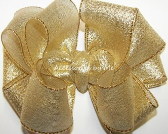 Glitzy Gold Hair Bow, Lame Metallic Clip, Girls Gold Glitter Bow Barrette, Toddler Gold Hair Clips, Wedding Bow, Glitz Pageant Birthday Bows