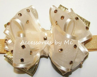 Baby Headband, Infant Ivory Gold Bow Band, Toddler Organza Metallic Ribbon Hair Band, Girls Glitz Pageant Bows, Princess Dress Up Party Wear