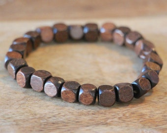 Men's Beaded Bracelet Brown Wood Square Beads