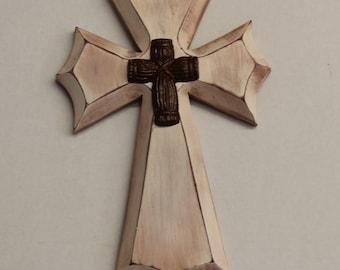 Medium Rustic Wood Cross with Metal Cross (Antiqued White/Brown) Style 2