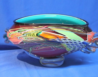 PETER RIDABOCK Oceanic Low Wave 5.5 x 10.5 Hand Blown GLASS Ruby Turquoise Black