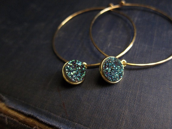 Druzy Hoops in Peacock