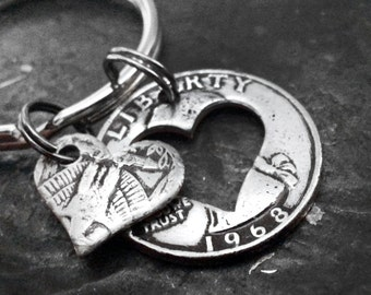 49th Birthday 1968 Heart Keychain 49th Birthday Gift 49th Anniversary Coin Jewelry made from a 1968 U.S. Quarter