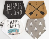 Personalized name happy camper bandana bib bundle.