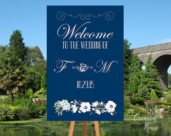 Printable Navy Blue Welcome Wedding Sign, Wedding Welcome Sign, Floral Watercolor  sign, Summer Wedding, Welcome poster, DIGITAL FILE WS046