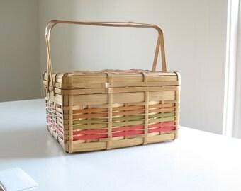 Vintage bamboo picnic basket / woven rattan sewing basket / boho style wicker storage
