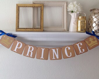 Prince Banner Royal Prince Baby Shower Birthday Banner Vintage inspired