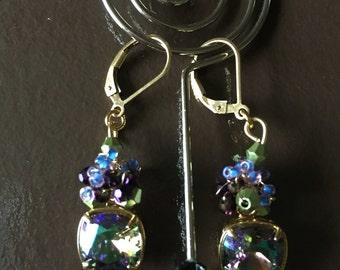 NEW Purple and green VITRAIL SWAROVSKI weaved earrings by ashley3535