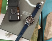 Navy Blue Itallian Leather Watch Strap 18mm, 20mm, 22mm (Free Shipping)