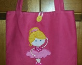 Medium Personalized Kids Tote Bag, Girl Tote Bag Dance Ballet Tote Reversible Bag, Tote Bag for Kids, Bookbag, Birthday, Flower Girl Present