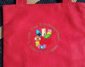 Kindergarten Personalized Kids Tote Bag, Girl Tote Bag, Kindergarten Canvas Tote Bag, Tote Bag for Kids, Bookbag, Birthday Gift