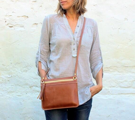 Leather crossbody bag, small cross body purse, zipper bag, zipper purse FREE Shipping
