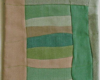 Fiber Art Wall Hanging,abstract fabric collage of new repurposed materials beige and green to adorn your home or work area,Modern Quilt