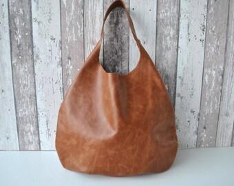 Brown Genuine  Leather  hobo bag in over size , Slouchy , roomy, Simple Bag , Bestseller, Travel bag, Gift,