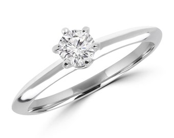 1/5 CT 6-Prong Solitaire Round Cut Diamond Engagement Ring in 14K White Gold