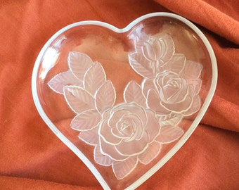 Vintage Heart Shaped Candy Dish - Rose Embossed Candy Dish - Rose with Heart Candy Dish