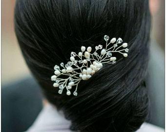 Pearl Crystal Bridal Hair Comb, Bridal Comb, Crystal Headpiece, Twig Hairpin, Bridal Accessory, Wedding Headpiece, Bridal Hairpiece LEIGHTON