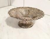 Silver Pedestal Dish, Silver Plated Dish, Ornate Silver Dish, Silver Pedestal Bowl, wedding decor