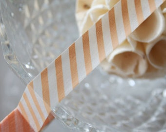 Peach Diagonal Stripe Washi Tape