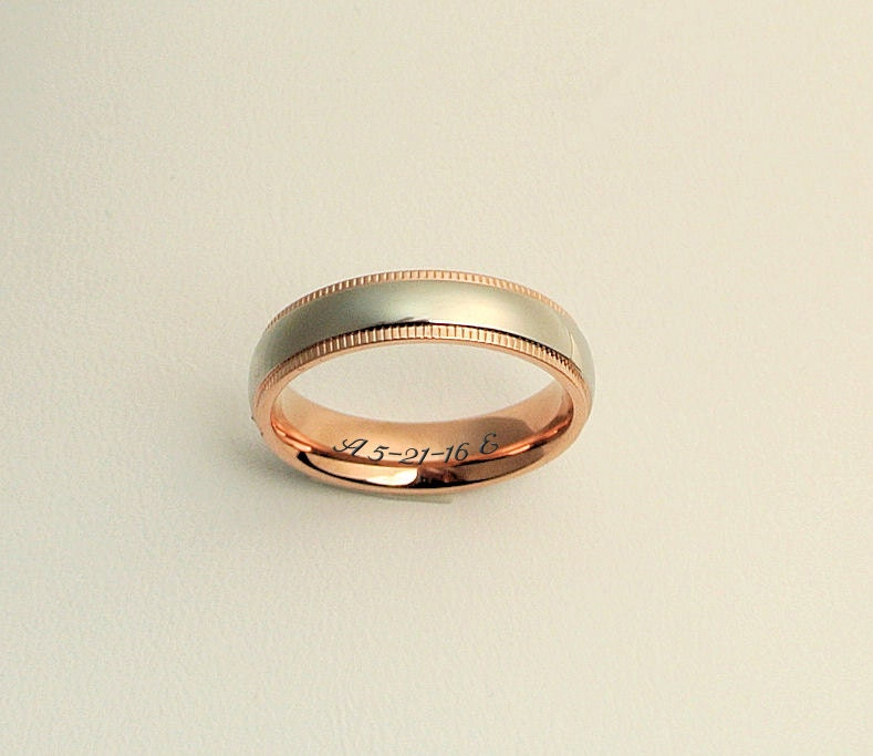 two tone ring engraved promise ring silver gold ring