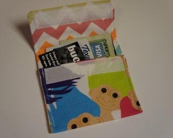 Retro TROLL DOLL Wallet Fabric RARE Custom Printed Fabric Credit Card Holder